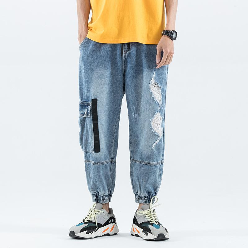 Джинсы Homme Grande Taille Разбитое Hole Сыпучие Большой размер Мужчины Повседневная Beamed Девять Брюки легкие шаровары мешковатые джинсы Мужчины Плюс Размер