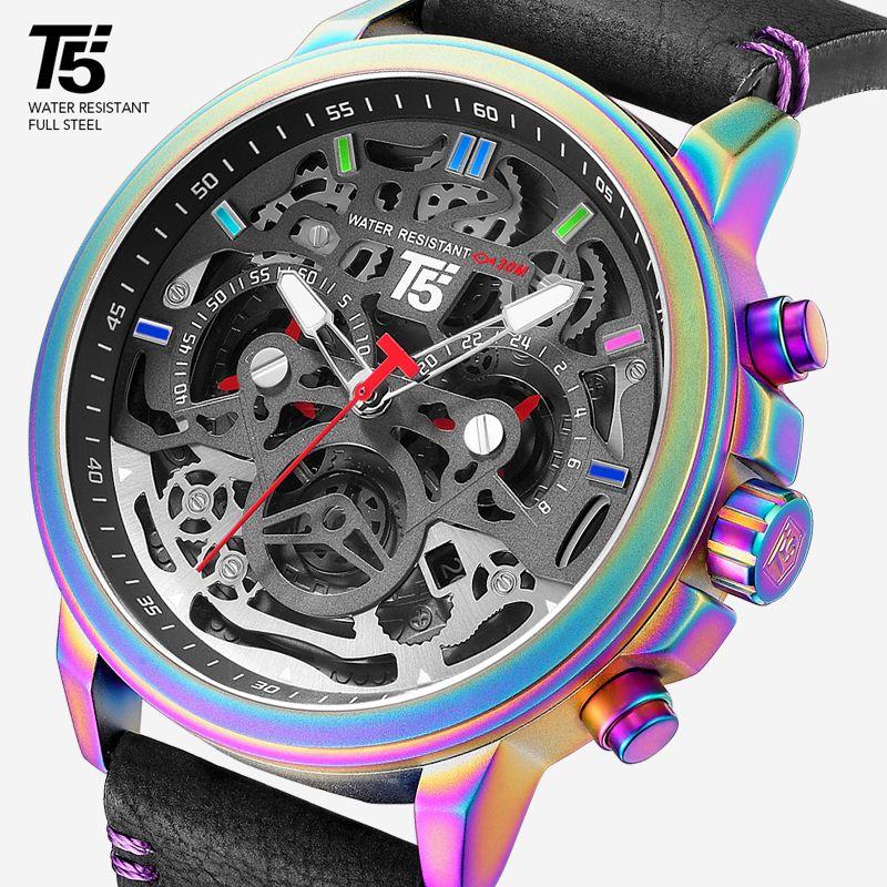 가죽 스트랩 T5 럭셔리 블랙 남성 쿼츠 크로노 그래프 방수 남성 스포츠 남성 시계 중지 시계 손목 시계 남자 시계