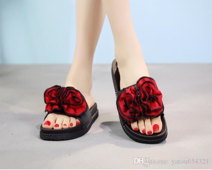2019 highquaity новый тип открытым носком тапочки женщин летние тапочки сдобы торт большой цветок дома толстым дном сандалии женской красоты