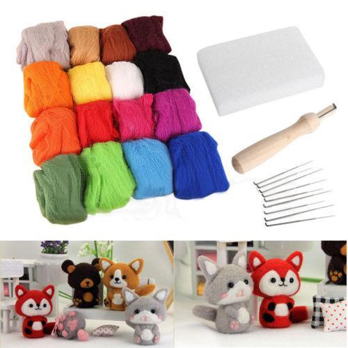 16 colores de fieltro de lana + 9 agujas de fieltro regalos Juego de herramientas Juego de herramientas de aguja de fieltro Mat Starter Kit de bricolaje