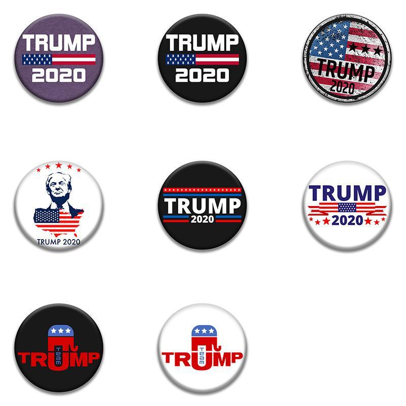 Trump Badge commémorative PINS Broches 2020 américaine Élection Trump Supplies Badge du drapeau américain offre faveur 58mm FFA4040