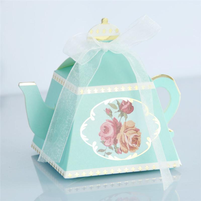 100 adet Yeni Yaratıcı Çaydanlık Şekli Kurdele Ile Tatlı Şeker Kutusu DIY Retro Gül Baskılı Şeker Kutusu Bebek Duş Düğün Favor Hediye Kutusu