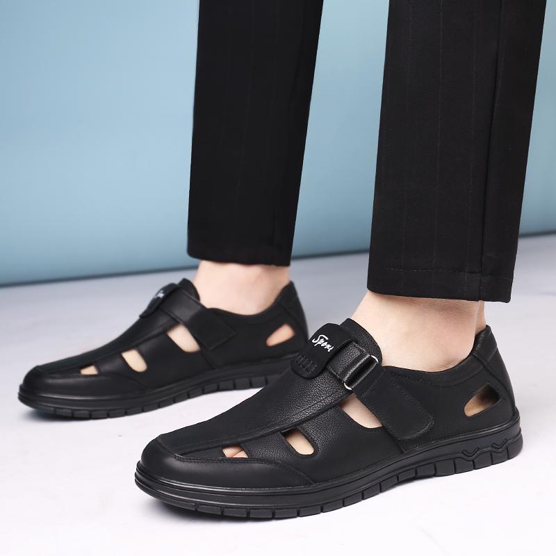2019 мужские сандалии лето обувь высокого качества пляжа Мужчины сандалии Причинно обувь из натуральной кожи Мода Открытый водонепроницаемый