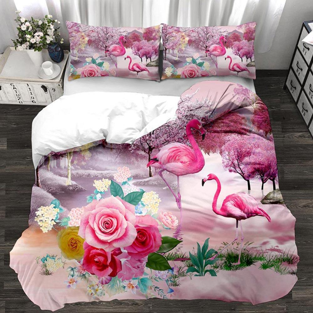 Botany Bedding Set Spring Foliage Palm Leaves Special Flowers 3D Microfiber Bed Linen with Pillowcase Set 2 3pcs Home Bedclothes