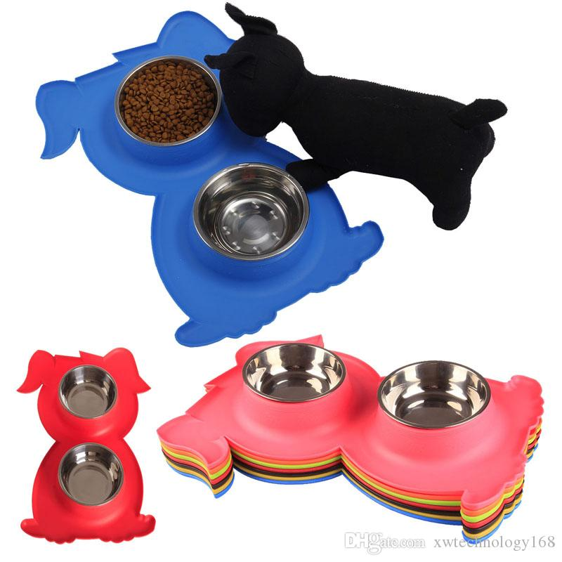 1PCS Stainless Steel Pet Bowls Dog Shape Bowls Non-skid Silicone Mat Feeder Bowls for Pet Dog Cat