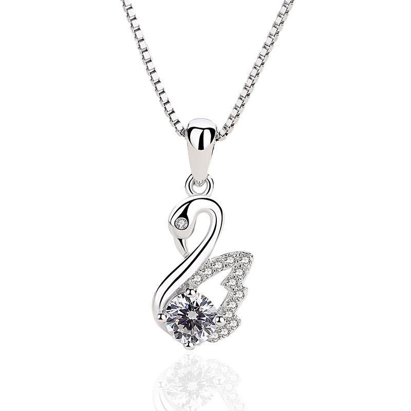 2019 neuer S925 Sterling Silber Schmuck koreanisches Mikro Intarsien Schwan-Anhänger sexy Schlüsselbein Kette weibliche Halskette Hersteller Großhandel