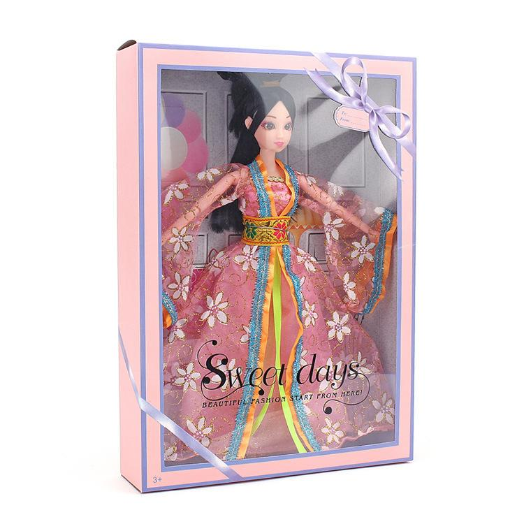 Barbie Doll China Ancient Costume A Doll Pink Colour Snow Clothes & Accessories A Doll Gift Box Girl House Toys