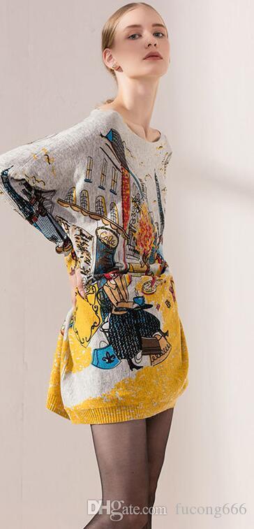 Kostenloser versand 01 mode große frauen fledermaus ärmel damen einteilige pullover pullover gedruckt pullover frauen