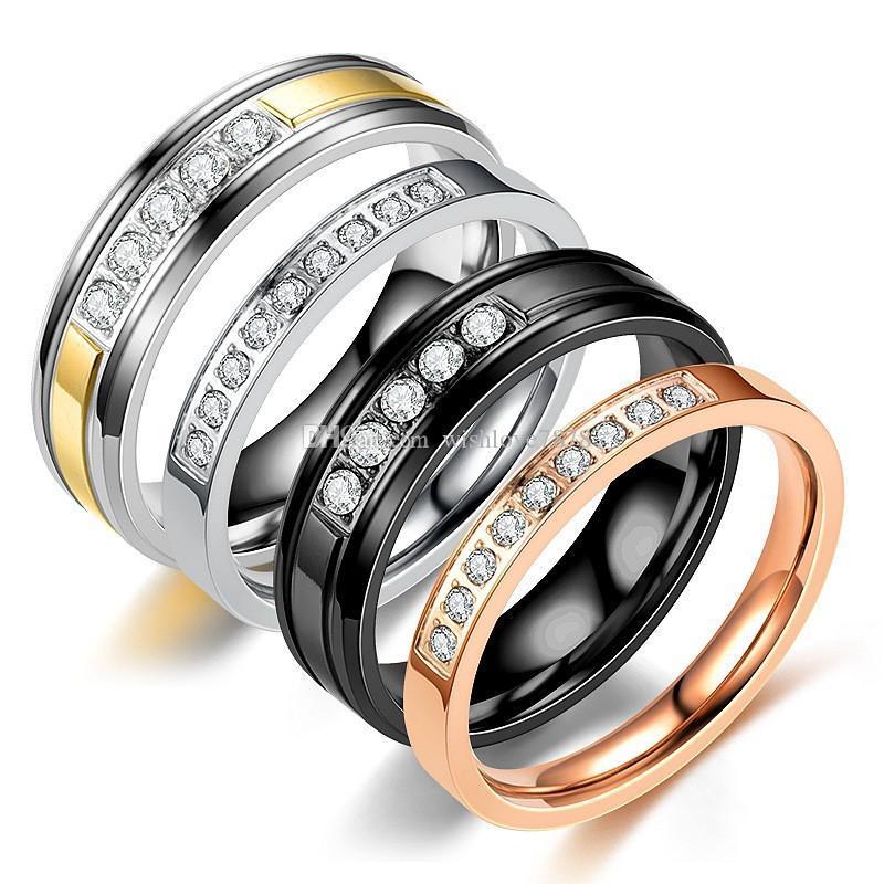 Lüks tasarımcı takı kadın yüzükler alyans Parmak Yüzük kristal alyans paslanmaz çelik jewerly gül altın gümüş siyah