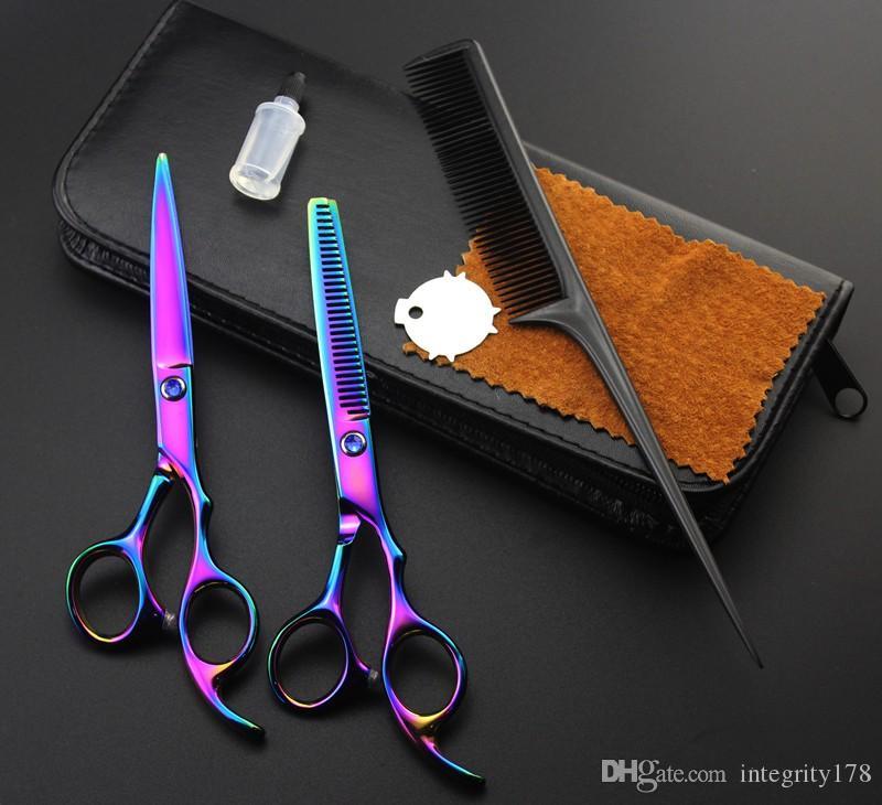 Kit profesional de tijeras de corte / adelgazamiento 2CR 62HRC de 6.0 pulgadas con estuche de cuero al por menor + Combine 5 colores para opciones
