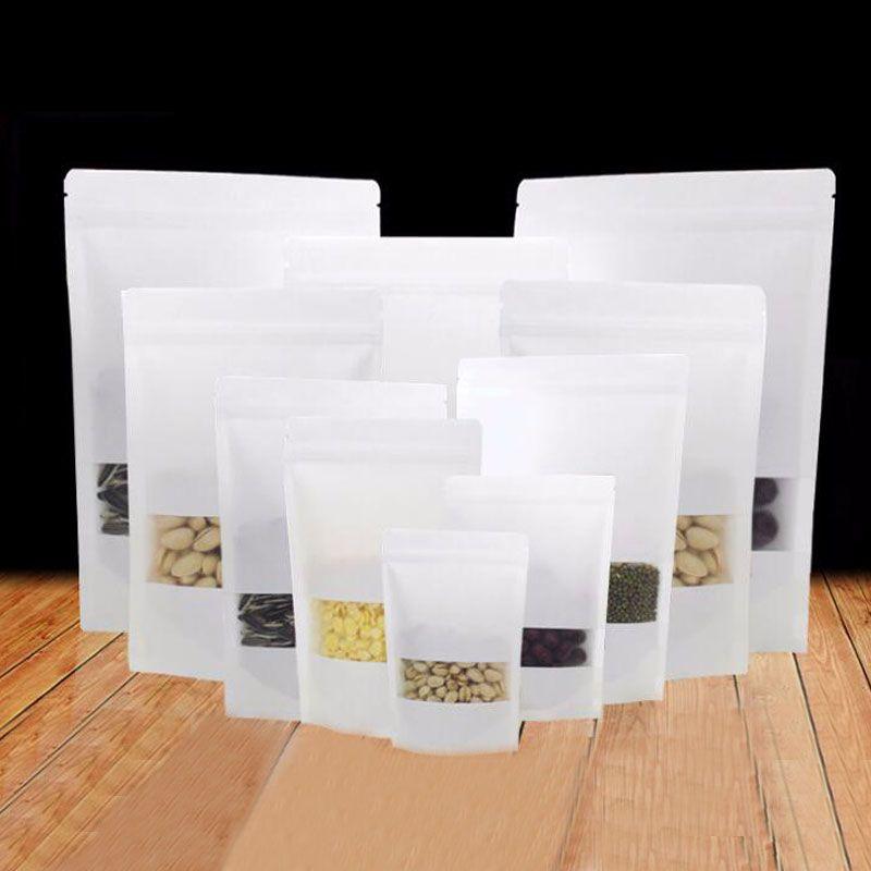 Hediyeler / Wedding / Şekerleme / Kraft Torba 50pcs Beyaz Kağıt Çanta Kraft Kağıt Torba ile Pencere Çanta Ambalaj Stand Up zanaat