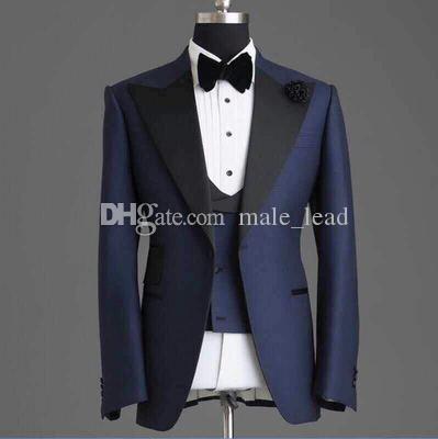 Красивые женихки темно-синий жених смокинги мужские свадебные платья мужской куртку Blazer выпускной ужин 3 шт (куртка + брюки + галстук + жилет) A44