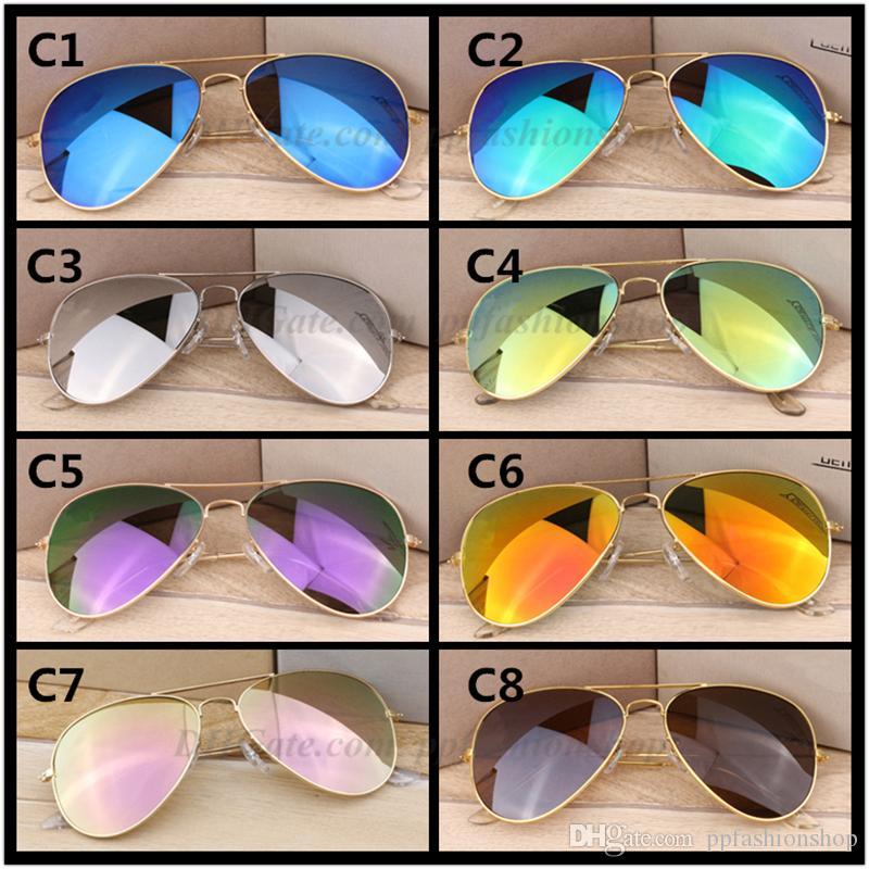 Migliori classici occhiali da sole pilota di vendita nuova resina metallo occhiali da sole di marca occhiali di protezione UV400 occhiali da sole 58 millimetri all'ingrosso