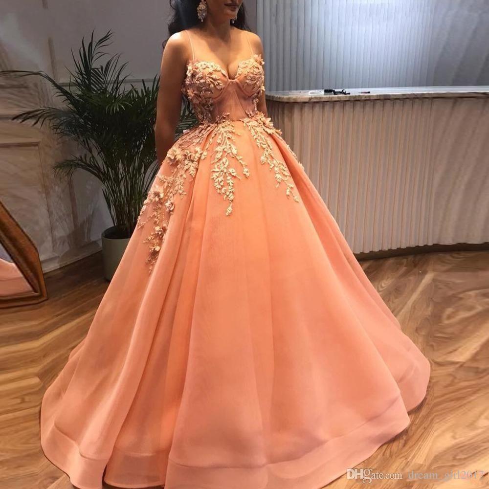 Оранжевые саудовско-арабские платья Quinceanera 2019 года с нежными аппликациями 3D-платья из бисера с цветами и бисером Милая плюс размер бальное платье