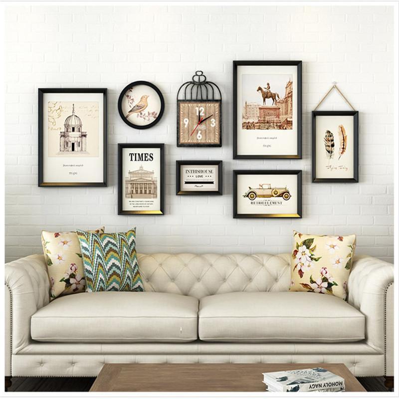 Retro-Art-Schwarz-Foto-Rahmen Dekorieren Wohnzimmer Qualität Bilderrahmen 7 Stück Hängerahmenkombination Large Size DIY Geschenk