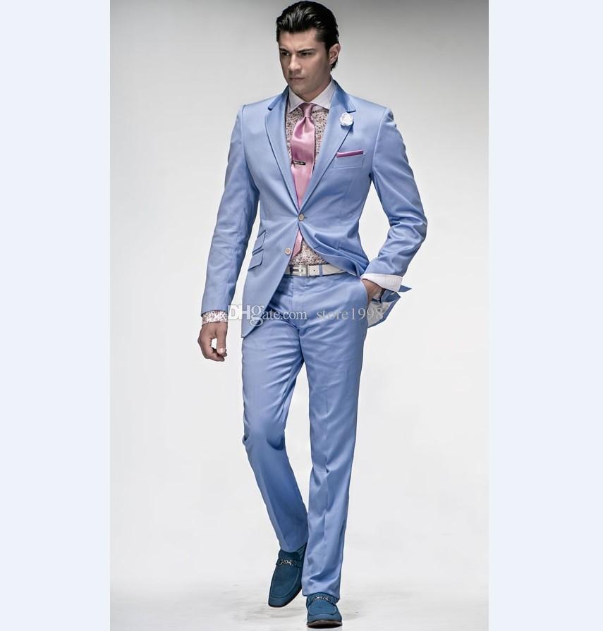 Brand New Groomsmen Notch Risvolto Smoking dello sposo Cielo blu Abiti da uomo Matrimonio / Prom. Best Man Blazer (Giacca + Pantaloni + Cravatta) A442