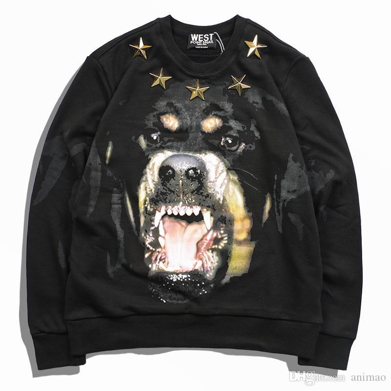 Metal Yıldız Köpek Kafası Hoodies Moda Avrupa Istasyonu erkek Hoodie İlkbahar Sonbahar Yeni Üst Baskılı Kazak Severler Hoodie