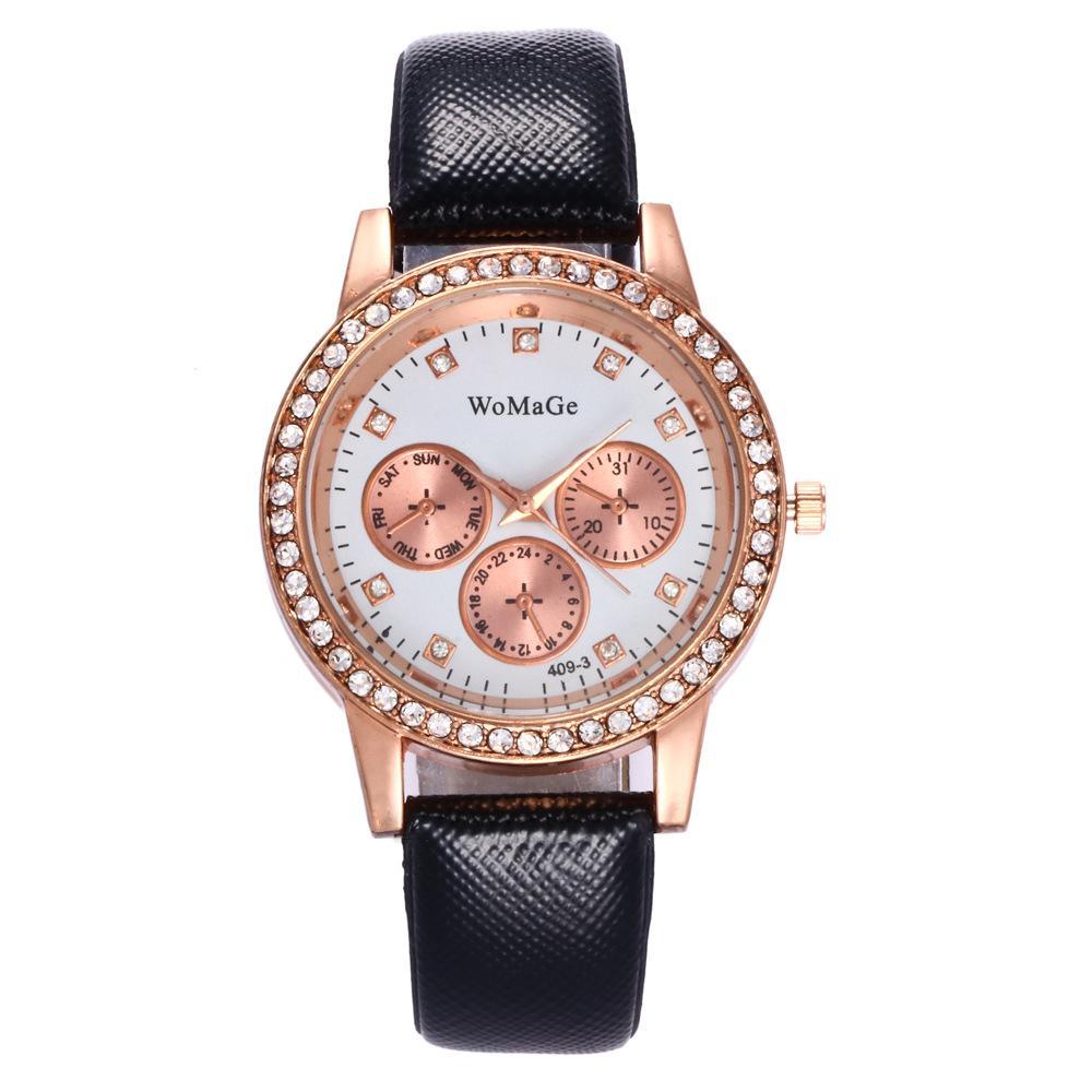 Womage luxury lady quartz watch women fake three eyes high-end belt watch student gift watch