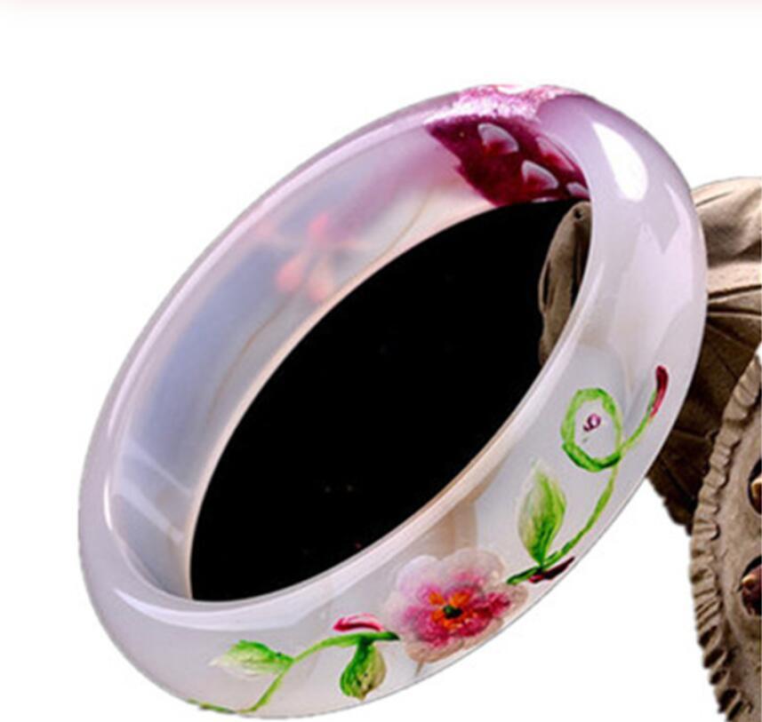 Chinesische Chalcedon Achat Mosaik Pfau Jade Armband 54-64mm Charme Schmuck Mode-Accessoires Männer und Frauen Glück Amulett Geschenk