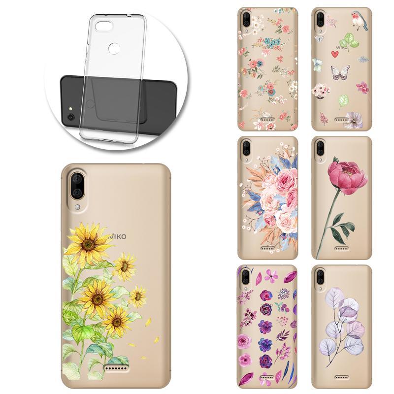 Wiko Y50 Y60 Y70 Y80 View3 Lite Funda için Retro Çiçek Yaprak Boyalı Telefon Yumuşak Kılıf