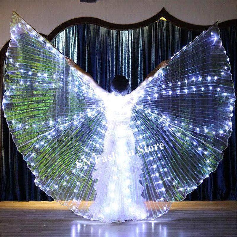 M97 Ballroom dance led costumes colorful light led cloak bellydance luminous wings rave wears perform dress singer clothes bar performance