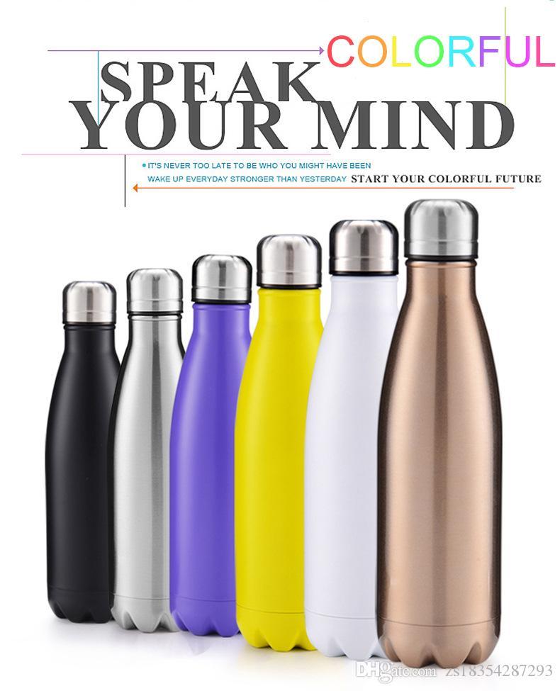 Heißer Verkauf 500ml Kreative Getränk Cola-förmige Wasserflasche doppelt ummauerte hochwertige Edelstahl im Freien Wasserflasche Weihnachtsgeschenke