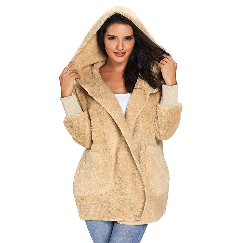 Plush Hooded Open Front Pockets Jacket