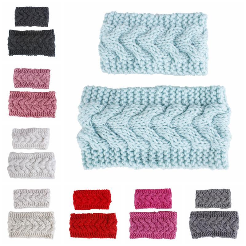 parent-enfant Tricoté Crochet Bandeau Famille Maman Bébé Sports d'hiver Headwrap laine Bandeau Turban Bandeau Réchauffeur Bonnet LJJA2929
