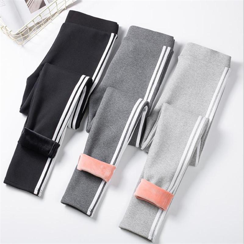 2019 pantaloni delle nuove donne caldo Leggings cachemire a righe lato femminile Inverno Velet ghette delle signore Warm casuale pantaloni delle ragazze Top CQ2700 Y200328