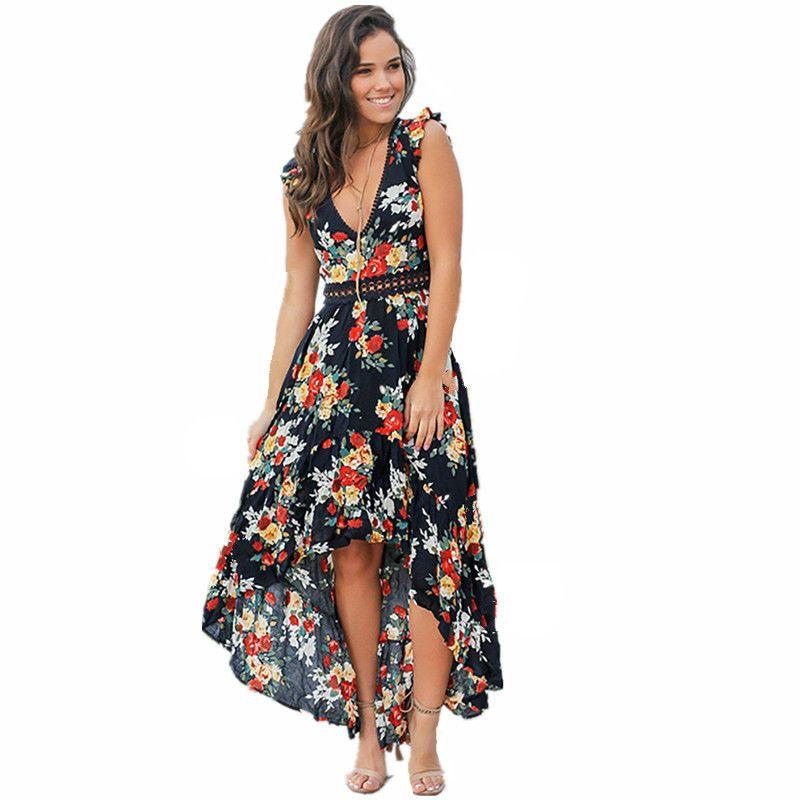 Women Maxi Boho dress floral print summer V-neck large swing dresses Bohemia beach holiday long dress Evening Gown Party Long Maxi Dress