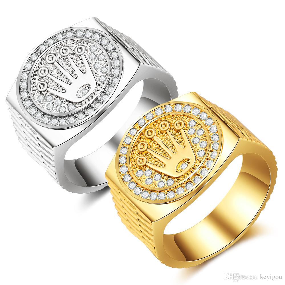 موضة الهيب هوب / روك حزام التاج للرجال والنساء خاتم الذهب والمجوهرات