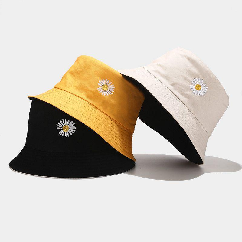 Women Summer Bucket Hats New Little Daisy Print Can Double-side Wear Couples Unisex Outdoors Stingy Brim Hats Fisherman Caps Casual Sun Hat