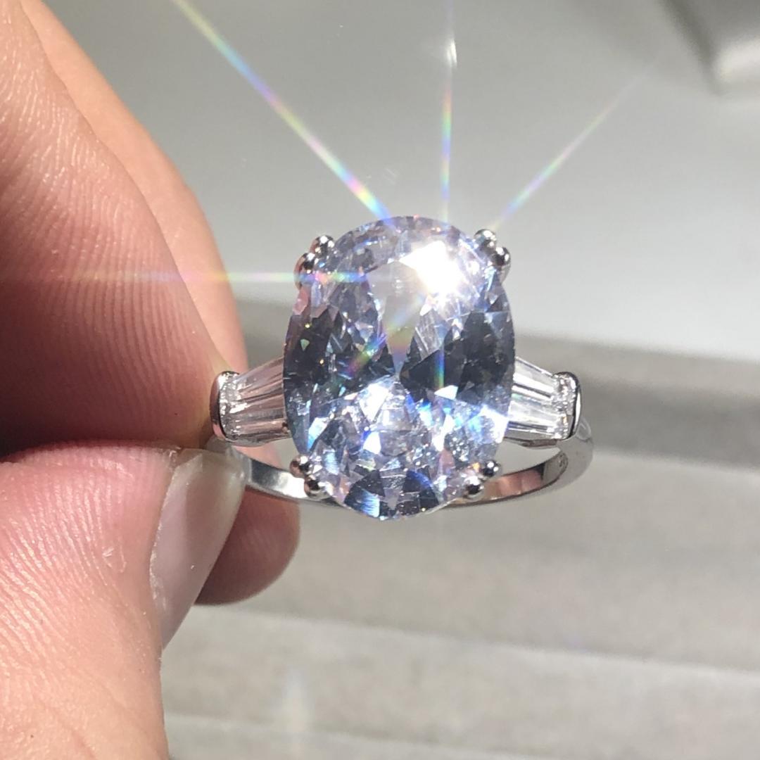 Cluster-Ringe 925 Sterling Silber Oval Cut 4ct Simulated Diamant für Frauen Ewige Verlobungsring Set Marke Fine Schmuck Geschenk