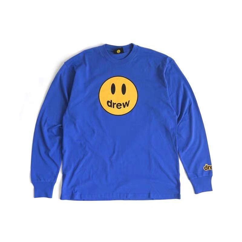 camisa de Justin Bieber de Drew Casa da mascote T manga comprida O-Neck Cotton Hip Hop Tee Mens Mulheres Sorriso Tops de Drew Tees Streetwear