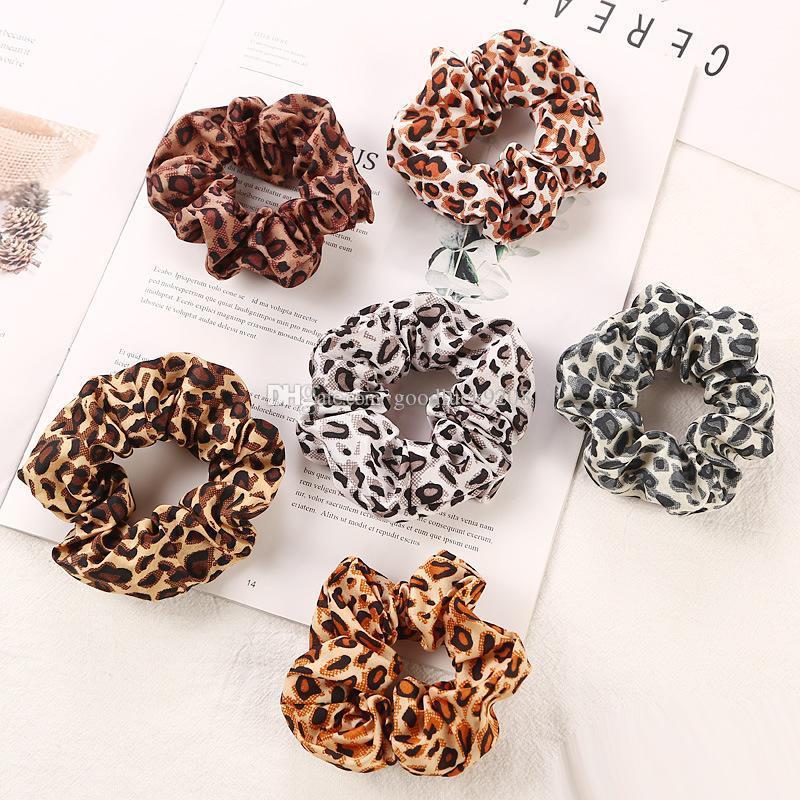 6 colori donne ragazze chiffon leopardo anello elastico fermacravatte accessori ponytail titolare fasce per capelli elastici nastri in gomma