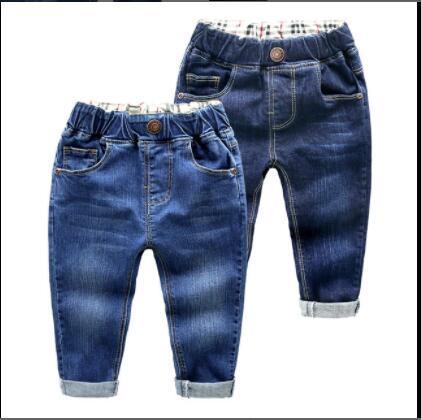 2020 neue der Kinderbekleidung Kinder Hosen des Jungen Lochjeans Frühling und Herbst Baumwollhosen ein Haarersatz Größe 90-130cm