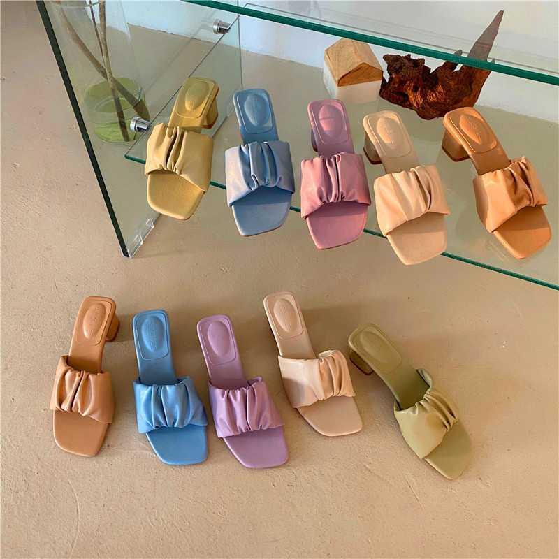 2020 Summer Women Slippers Outdoor Women Slides Femmes Fashion Beach Shoes Square Toe Med Heel Sandalias Mujer Casual Flip Flop