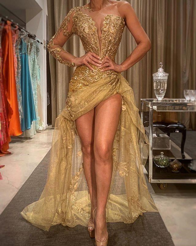 2020 Gold Sexy African Prom Pageant Dresses High Low Lace Appliques One Shoulder Evening Gown Sheer Long Sleeve Formal Wear robes de soiree