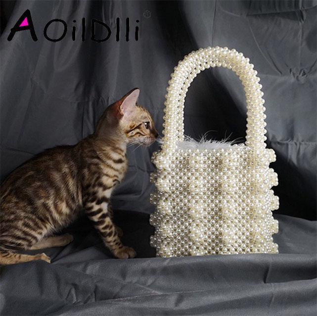 Handmade Pearl Lady Tote Luxury Handbags Small Box Evening Bag Fashion Vintage Female Top-handle Purse Chic Ins Box Bag Brand Y19061803