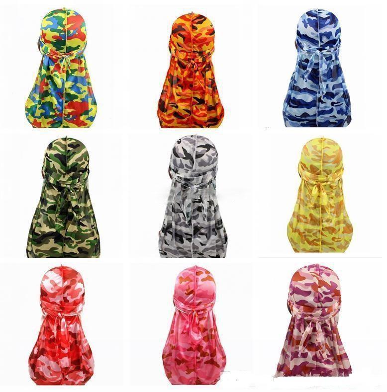 9 de seleção de cores Durag Miltary Camouflage Silky Durag Hot New premium colorida 360 Waves Long Tail Silky Durags Hiphop Caps Homens Mulheres