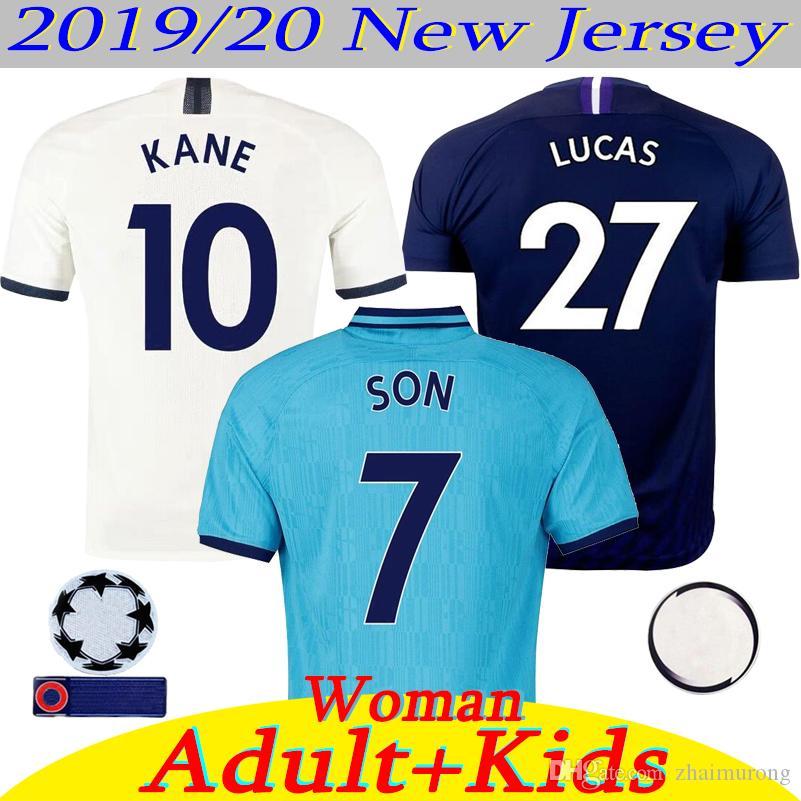 새로운 20분의 2,019 태국 케인 축구 유니폼 남자 어린이 여성 루카스 ERIKSEN DELE SON 19 명 20 Tottenhames 홈 어웨이 3 파란색 축구 유니폼을 박차