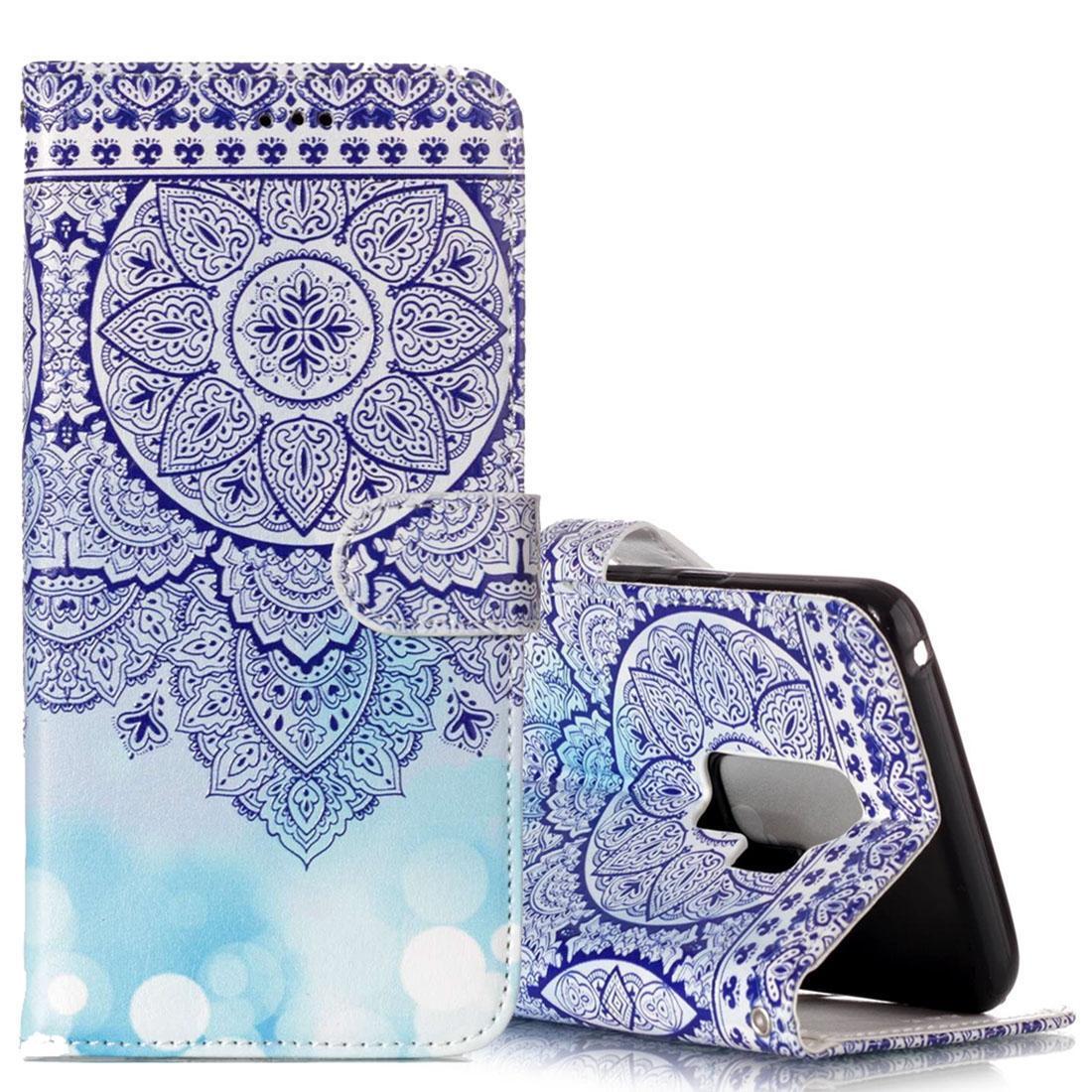 Для Galaxy S9 Gloss масло Рельефный Синий Тотем Цветочный узор горизонтальной Флип кожаный чехол с держателем карты Слоты Кошелек