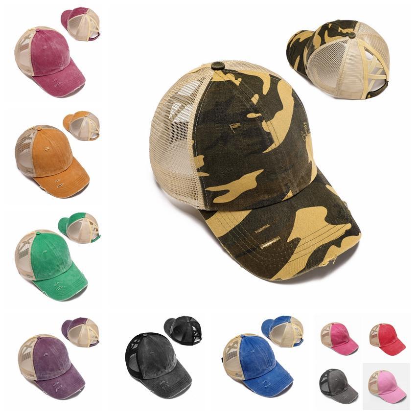 Хвостик Baseball Cap 12 цветов Big Kids Messy Bun Шляпы Camoflage Snapbacks Повседневный Солнцезащитный козырек Открытый Hat Leopard Шаровые Caps CCA12273 30шт