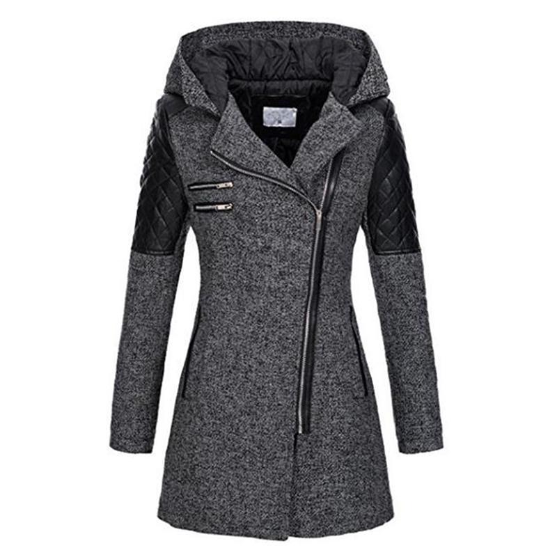 Le donne inverno cappotto incappucciato Autunno Zipper Slim tuta sportiva della molla rappezzatura di modo nero femminile caldo antivento Cappotti