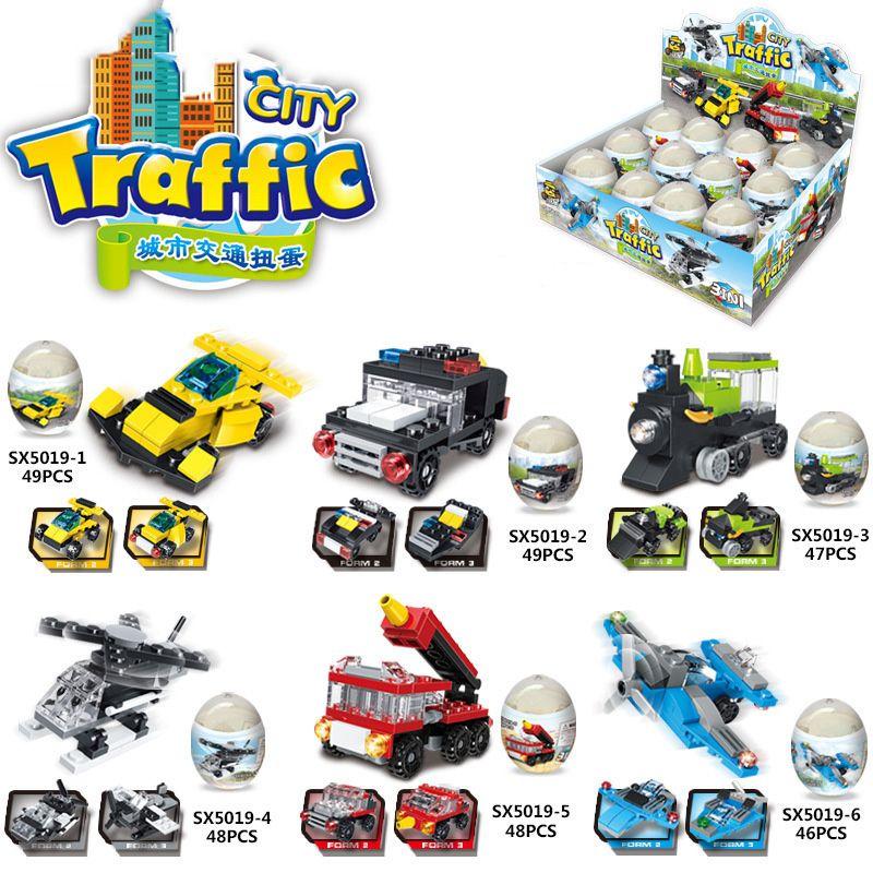 6 em 1 tráfego Da Cidade caminhão de Bombeiros helicóptero ovo torcido pequenas partículas montado blocos de construção de brinquedos educativos de plástico de plástico gashapon