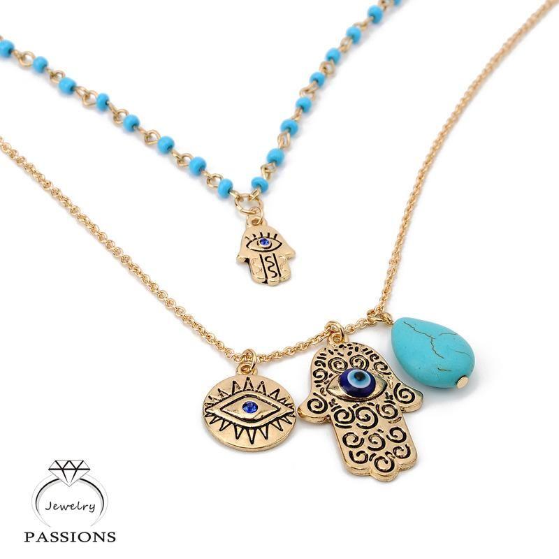 Vintage Bohemia Double Layer Bead Necklace Turkey Blue Evil Eye With Hamsa Hand Fatima Palm Pendant Women Gift Decoration Chain Qwrsq