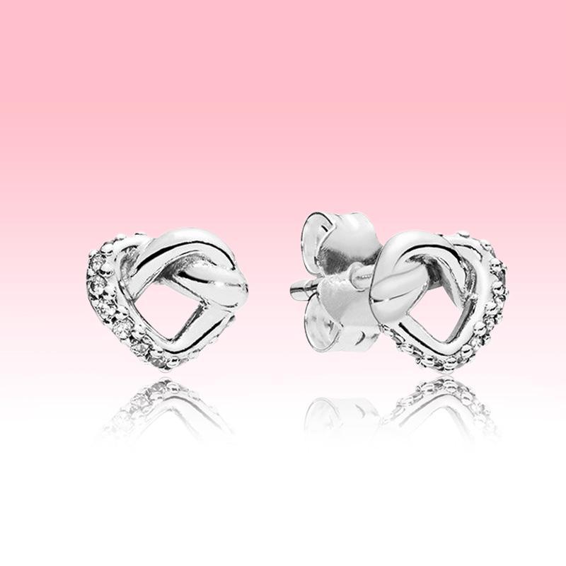 925 Sterling Silver Love Hearts Earring Women Wedding Jewelry Original box for Pandora Knotted Heart Stud Earrings set