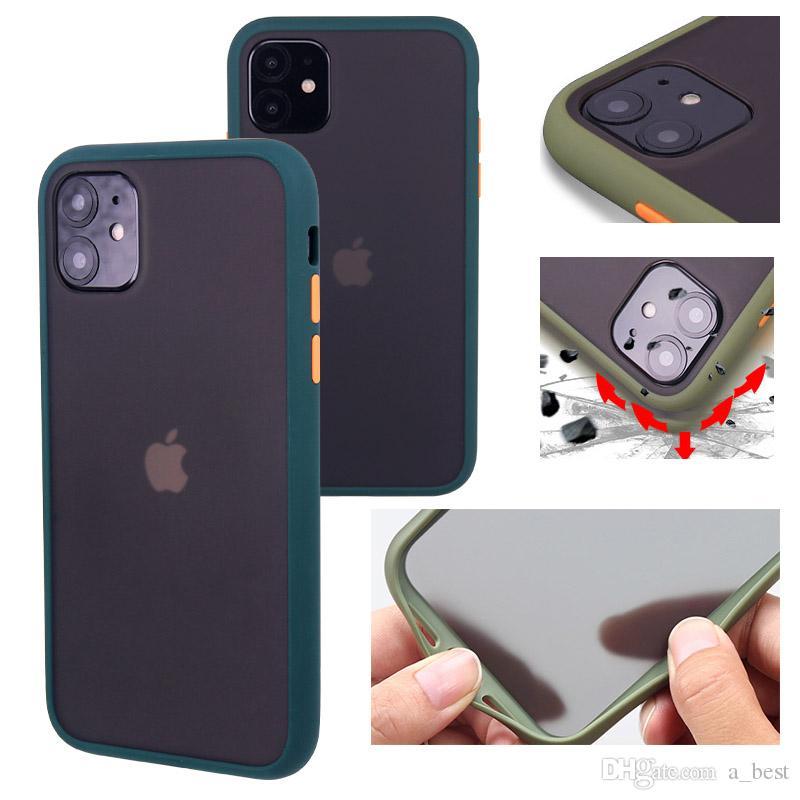 A prueba de golpes caso mate para el iPhone Teléfono 11 Pro Max XR XS Plus X 8 translúcido parachoques dura de la PC de Samsung Nota 10 S10