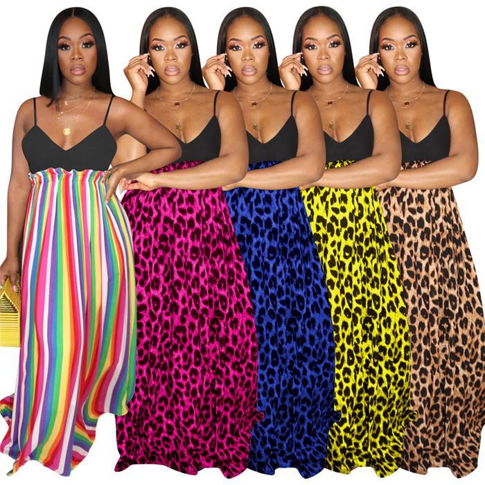 Leopard stampato Womens Arcobaleno abiti oversize con scollo a V della cinghia di spaghetti signore sexy più i vestiti senza maniche femminile Abbigliamento