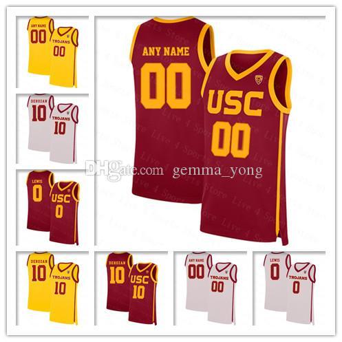 Homens USC Trojans costurados 10 Derozan Max Agbonkpolo Ethan Anderson Jonah Mathews Isaiah Mobley Onyeka Okongwu College Basketball Jerseys